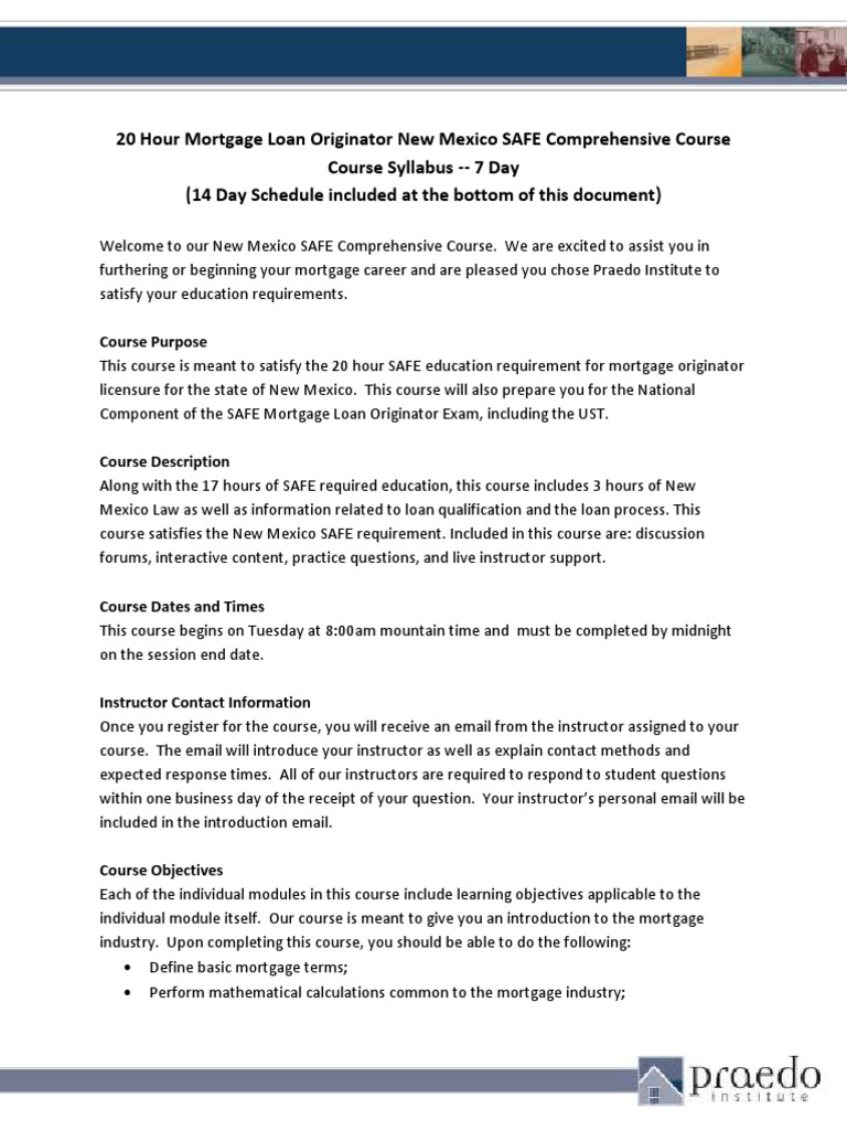 Syllabus SAFE 20 Hour New Mexico Comprehensive Approved | Mortgage Loan |  Federal Housing Administration