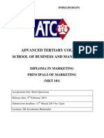 MKT101 Principles of Marketing Assignment 2013 (1)