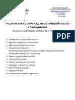 TALLER DE AGRICULTURA ORGANICA A PEQUEÑA ESCALA Y ORGANOPONIA