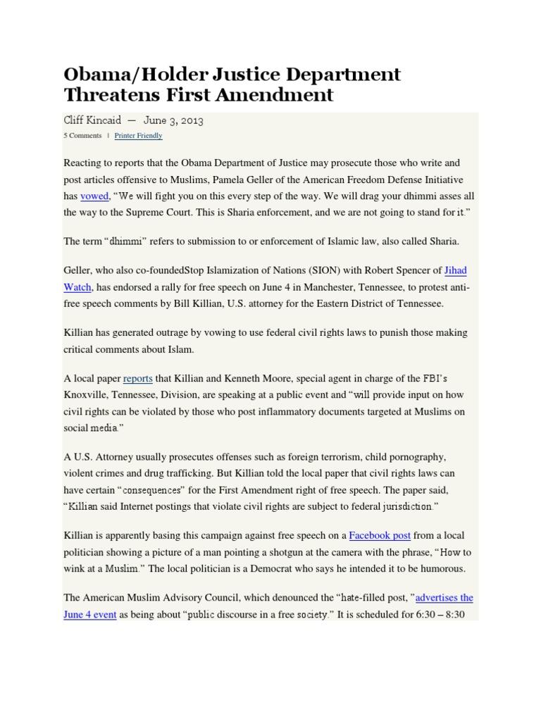 BO, Holder, Killian Protect Tenn Jihadi's | First Amendment