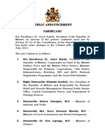 Cabinet List as of 1st July, 2013