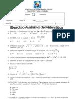 Exercício Avaliativo de Matmática - 9º Ano - Álgebra - 14-06-2012 - 2º Bimestre