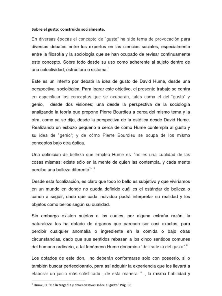 Sobre El Gusto Jalis123 David Hume Sociology