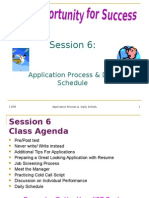 Session 6 the Application Process & Daily Schedule