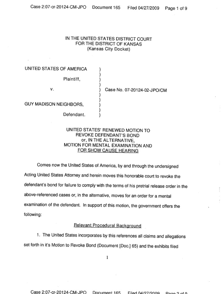 Marietta Parker case no 07-20124-02-JPO Guy and carrie Neighbors Motion to revoke bond Mental evaluation Cause hearing