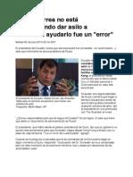 Rafael Correa no está considerando dar asilo a Snowden