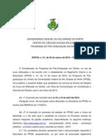 Edital Mestrado PPGD 2013 - UFRN
