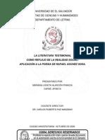 La literatura testimonial como reflejo de la realidad social. Aplicación a la poesía de Rafael Góchez Sosa.pdf