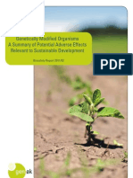 Genetically modified organisms. A summary of potential adverse effects relevant so sustainable development