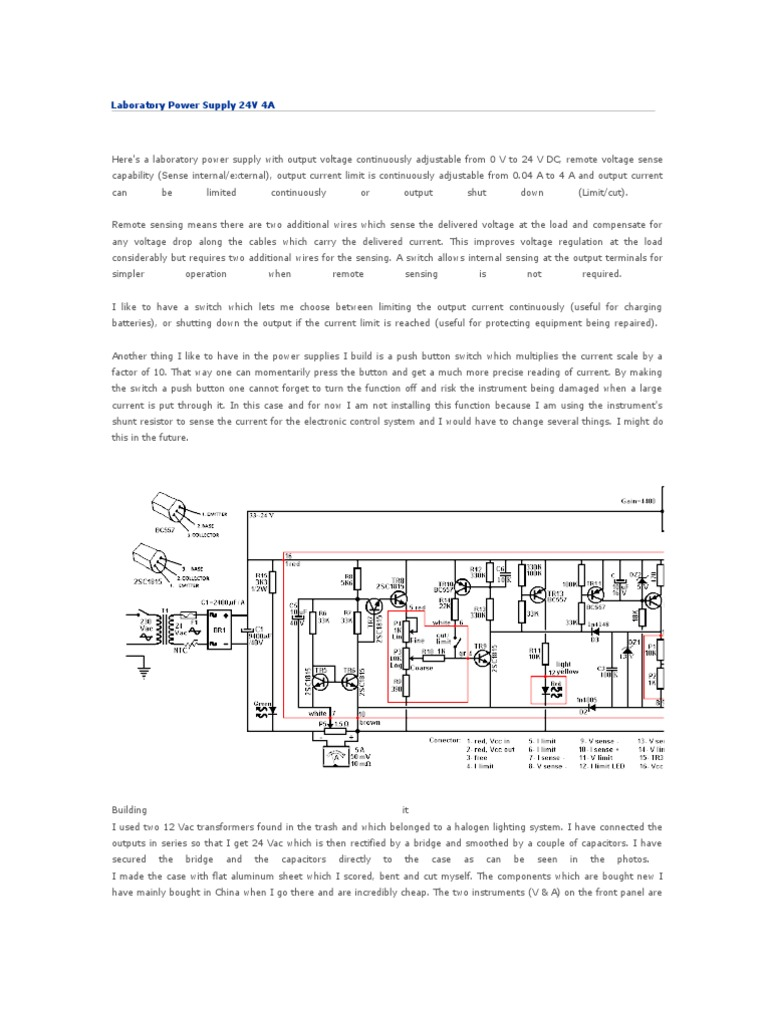 Laboratory Power Supply 24v 4a Electrical Connector Current Sensor Switch Wiring Diagram