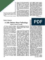 A Little Debate About Technology