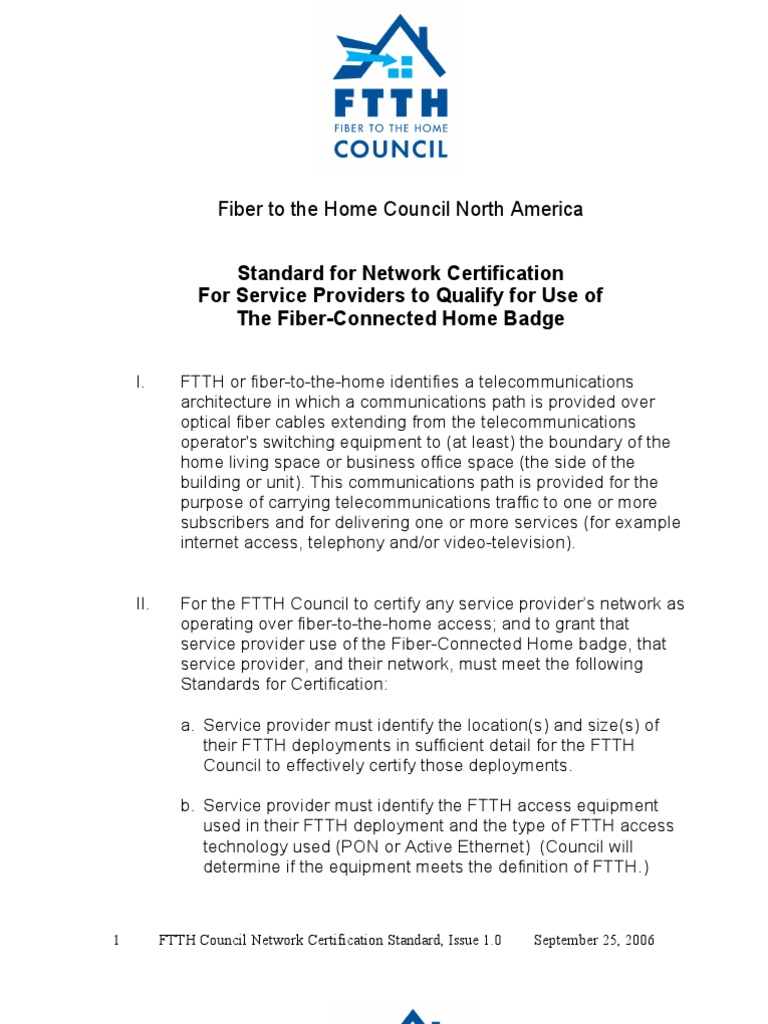Ftth Council North America Standard Of Certification Issue Fiber
