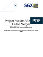 Project AvatarASX ASX SGX Failed Merger