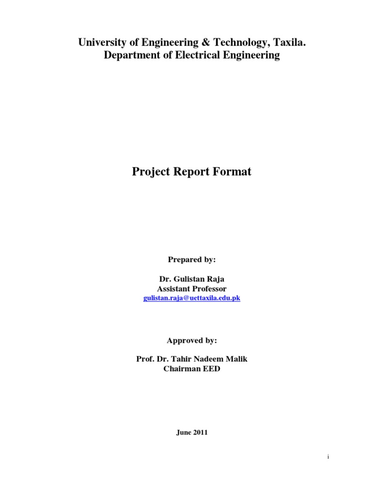 Guidlines BSc Elect Engg Final Year Project Report Writing