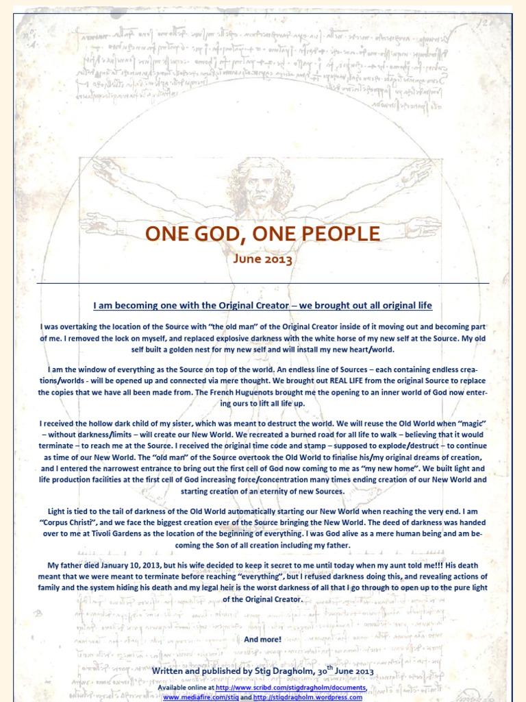 One God One People June 2013 Facebook God