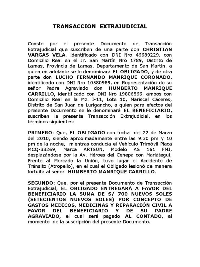 Transaccion extraj y acta de compromiso accidente transito for Modelo acuerdo extrajudicial clausula suelo