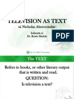 Television as Text Abercrombie