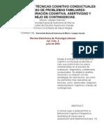 APLICACIÓN DE TÉCNICAS COGNITIVO CONDUCTUALES EN UN CASO DE PROBLEMAS FAMILIARES