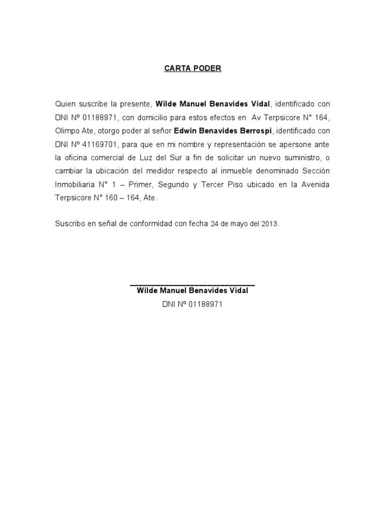 Carta poder para tr mites en la municipalidad for Pavimentos y suministros del sur