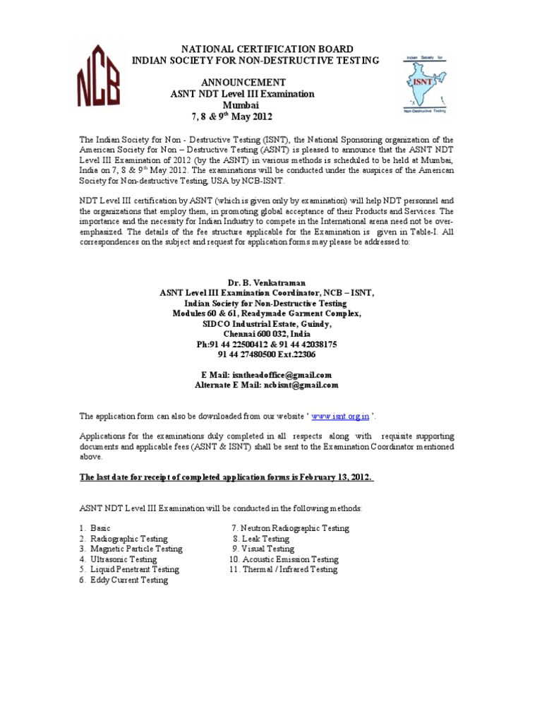 Asnt Liii Anouncement May 2012 Nondestructive Testing Fee