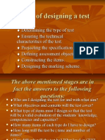 Stages of designing a test