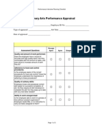 Culinary Arts Performance Appraisal