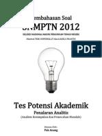 Pembahasan Soal SNMPTN 2012 Tes Potensi Akademik (Penalaran Analitis) Kode 613