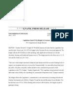 Knapik Press Release - Legislature Sends FY14 Budget to Governor