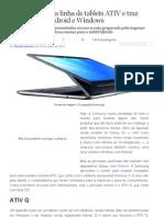 Samsung renova linha de tablets ATIV e traz híbrido com Android e Windows