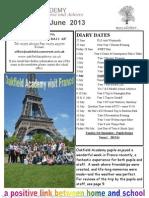 Oakfield Academy Newsletter June-2013