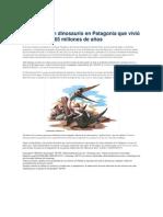 Articulo Dinosaurio en Patagonia