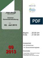 Eslarner Gemeinderatssitzungen - Mitschrift vom 02.07.2013