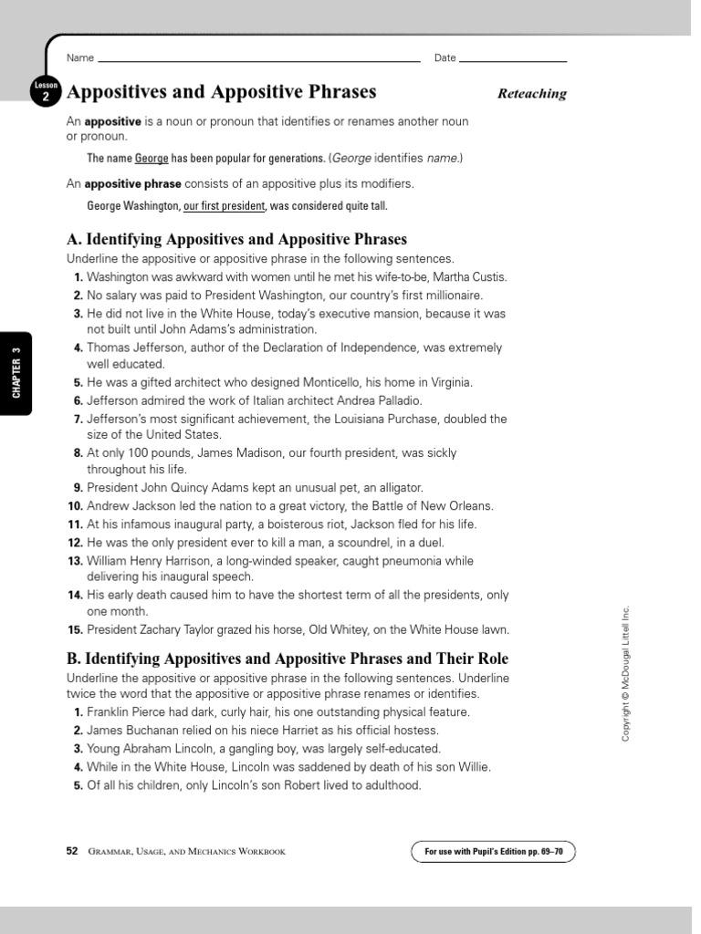 Worksheets Appositive Worksheet appositive phrases worksheet abraham lincoln thomas jefferson