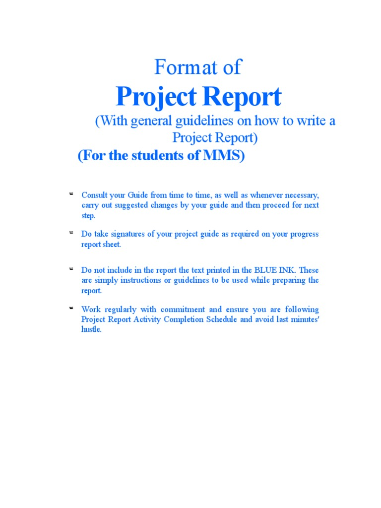 steps to write a project report
