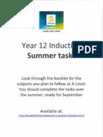 Year 12 Induction - summer preparation work
