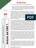 Newsletter di APRILE 2013 del Gruppo Consiliare PD di Zona 7-Milano