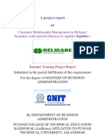 Religare Financial Summer Project