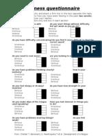 Assessment, Fatigue Tiredness