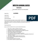 Aclc Algebra Syllabus
