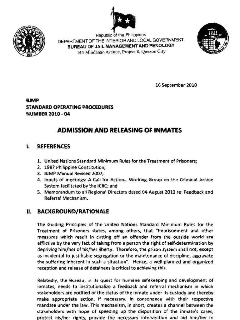 admission and releasing of inmates prison social institutions rh es scribd com