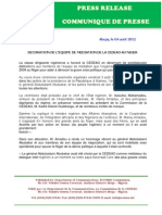 Communique de Presse Decoration de Lequipe de Mediation de La Cedeao Au Niger
