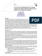 Awareness and Use of Career Information Sources Among Secondary School Students in Selected Schools in Ikenne Local Government Area of Ogun State, Nigeria