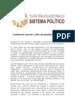 Mensagem Da Dilma Sobre Plebiscito. Nota Da Plataforma Dos Movimentos Sociais