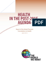Health in the Post-2015 Agenda- Report on the Global Thematic Consultation on Health, April 2013 (1)