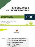 Performance n 2013 Work Program