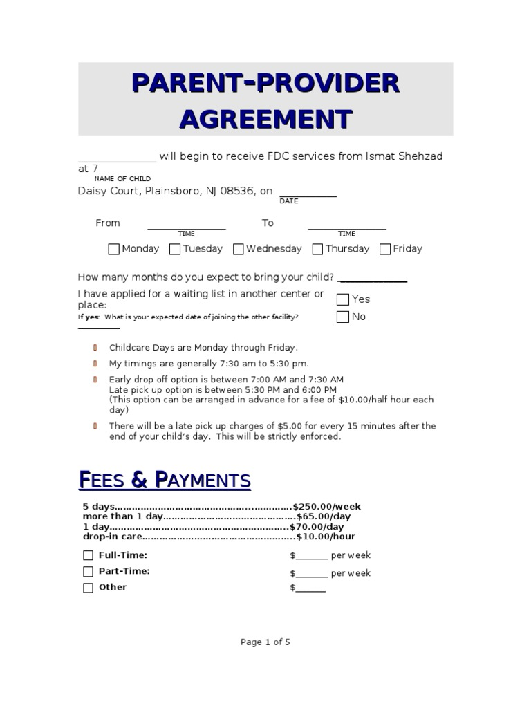 Parent Provider Agreement Day Care Child Care