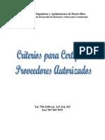 Criterios de Certificacion Proveedores Autorizados 2010