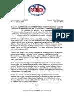 Patrick Press Release - July 1, 2013