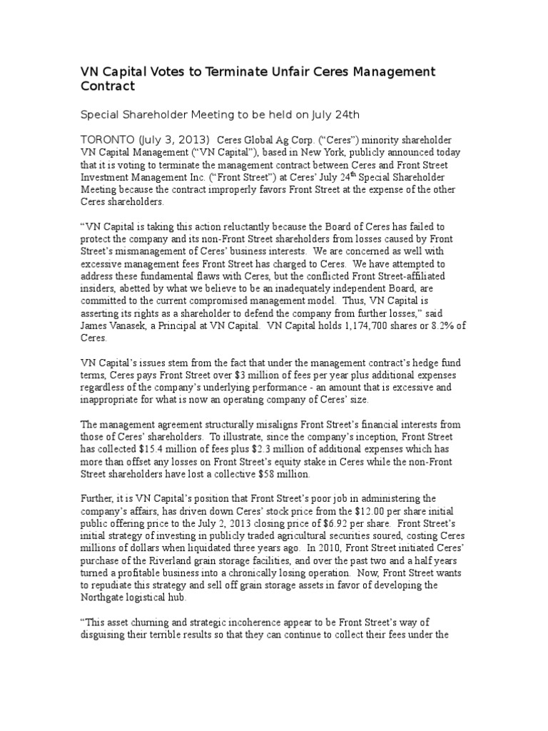 Vn capital will vote against management contract between ceres and vn capital will vote against management contract between ceres and front street stocks investment management platinumwayz