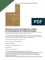 Mémoires du prince de Talleyrand , Volume I